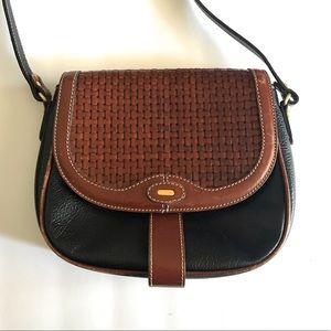 Bally Woven Leather Fold Over Shoulder Handbag